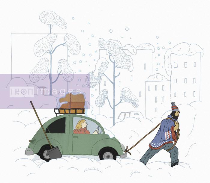 Man pulling woman's car through snow drift - Maxim Usik