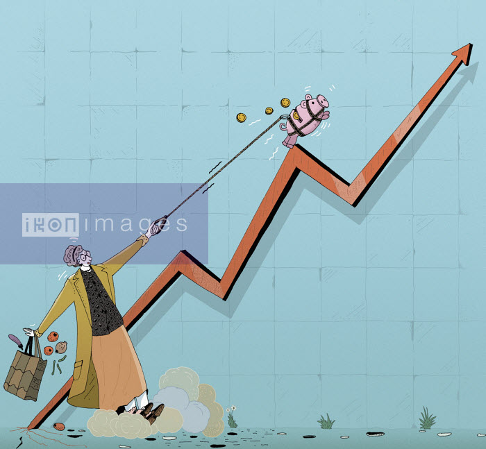 Maxim Usik - Woman struggling with piggy bank running up rising graph