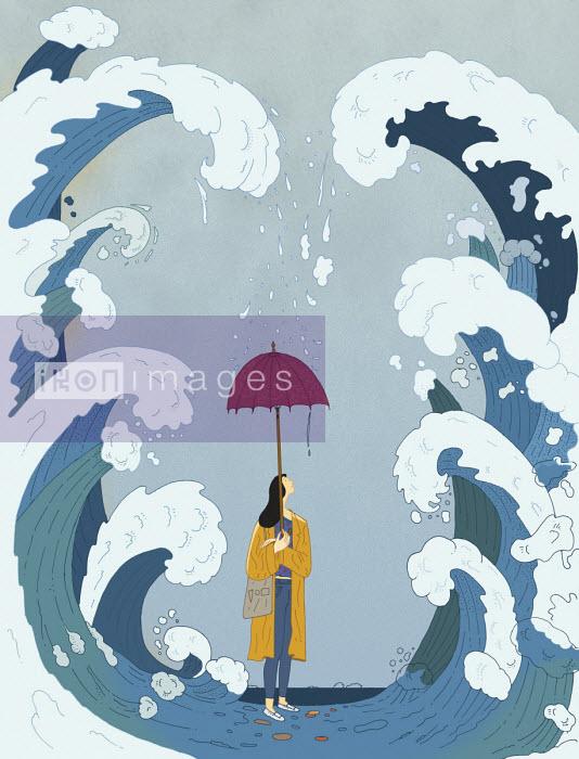 Maxim Usik - Woman between huge waves with inadequate umbrella
