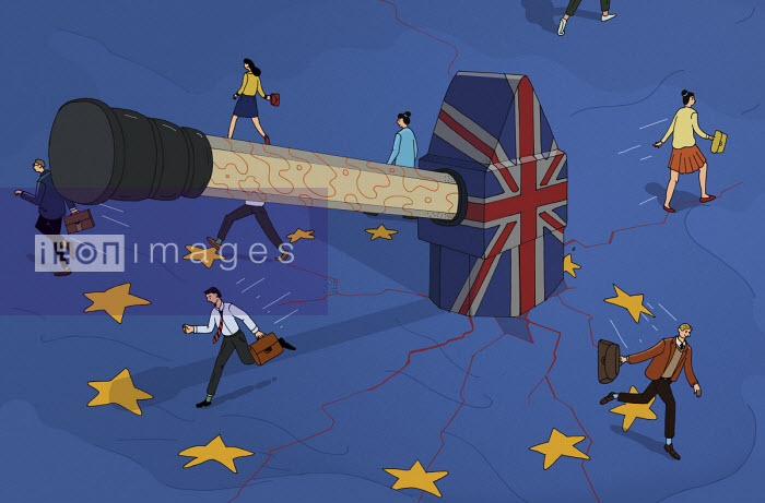 UK hammer breaking up the European Union flag - Maxim Usik