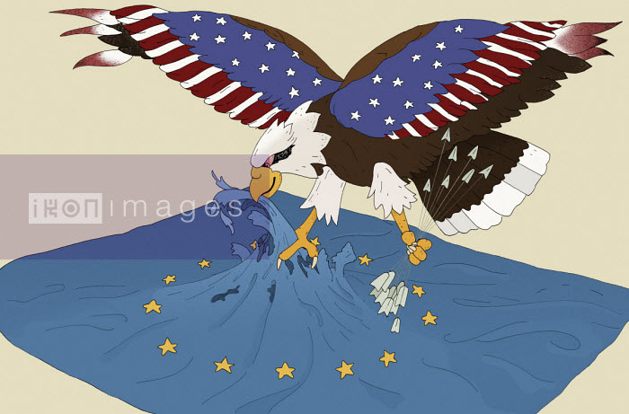 Maxim Usik - United States eagle attacking European Union flag