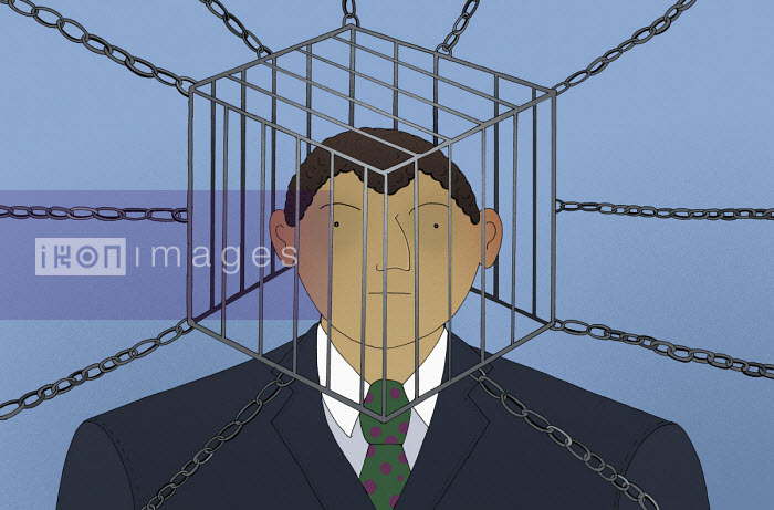 Businessman with head trapped inside of cage - Maxim Usik