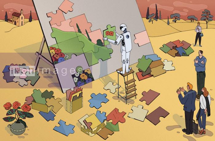 People admiring robot solving jigsaw puzzle - Maxim Usik