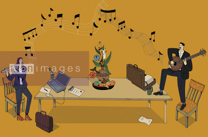 Businessman and businesswoman playing music together - Maxim Usik