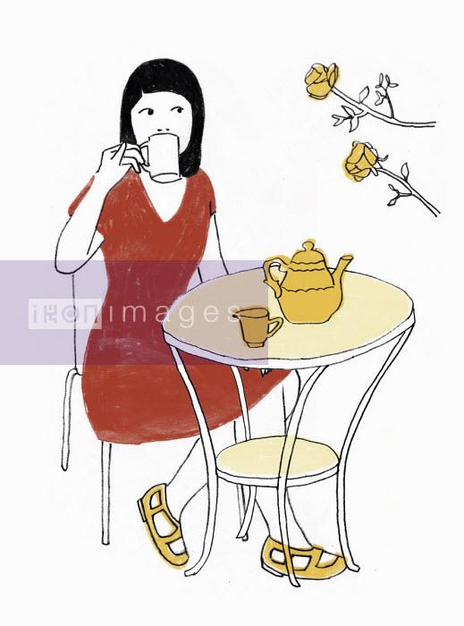 Rosie Scott - Woman drinking tea outdoors