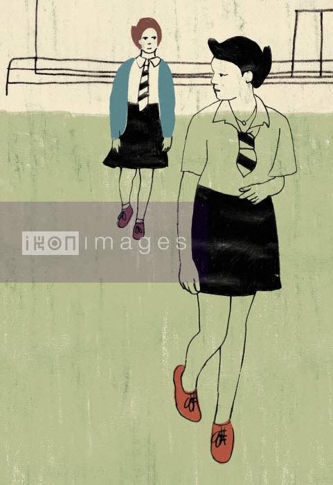 Schoolgirl being followed by another girl - Rosie Scott