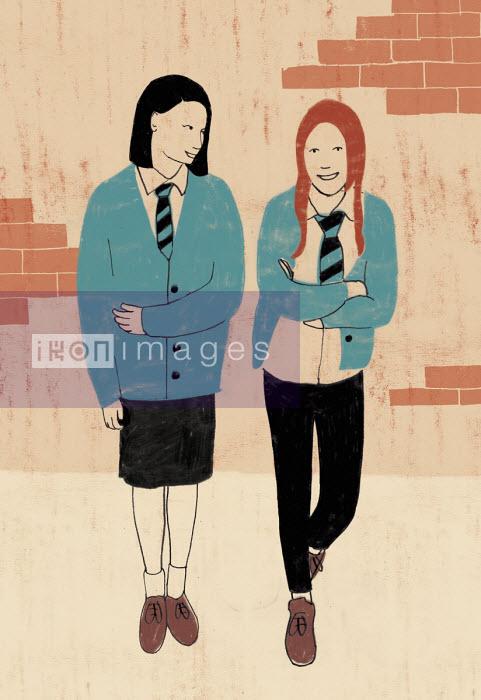 Schoolgirls hanging out in playground - Rosie Scott