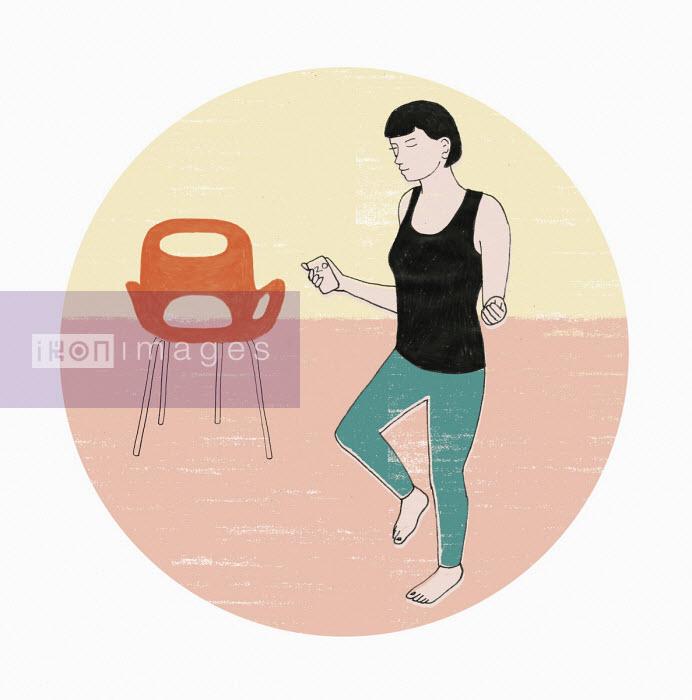 Woman exercising using fitness tracker app - Rosie Scott