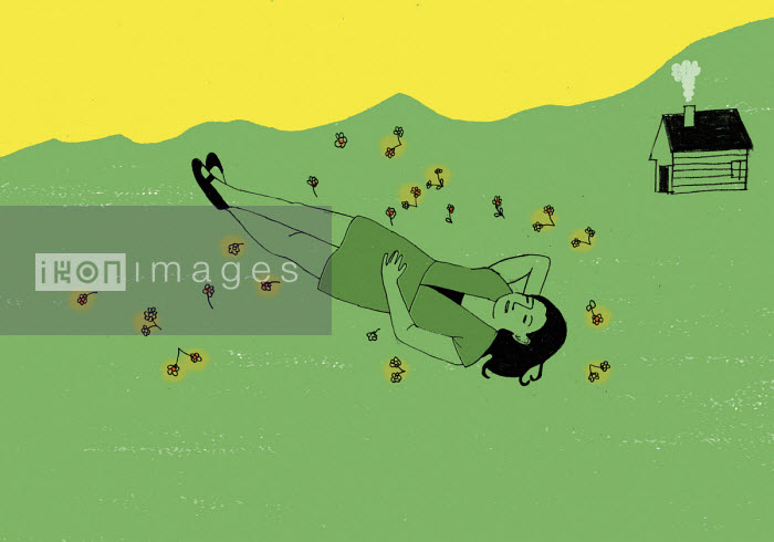 Rosie Scott - Woman lying down in meadow