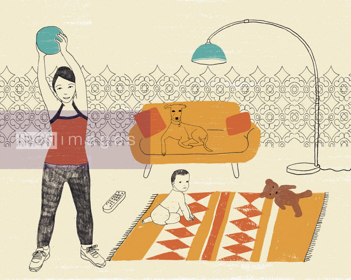 Rosie Scott - Mother exercising using medicine ball while baby plays on floor