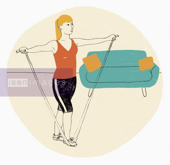 Woman exercising using resistance band - Rosie Scott