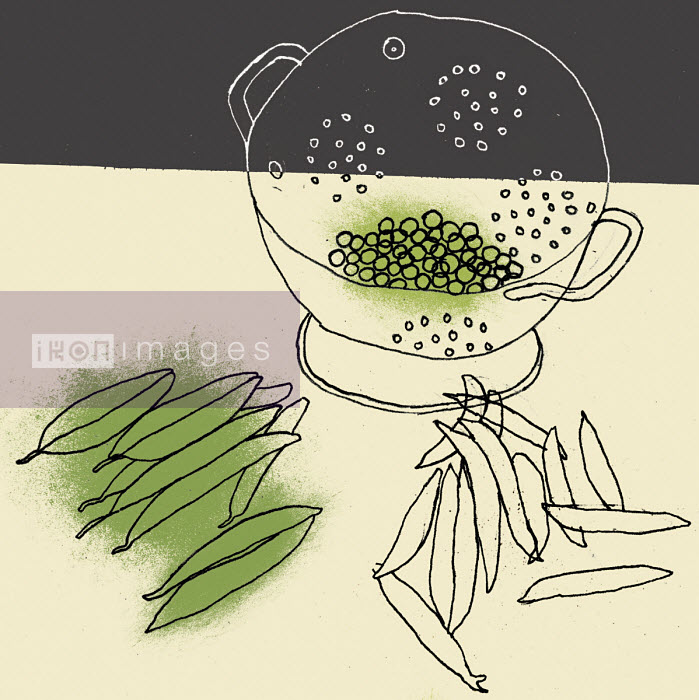 Pea pods and shelled peas in colander - Rosie Scott
