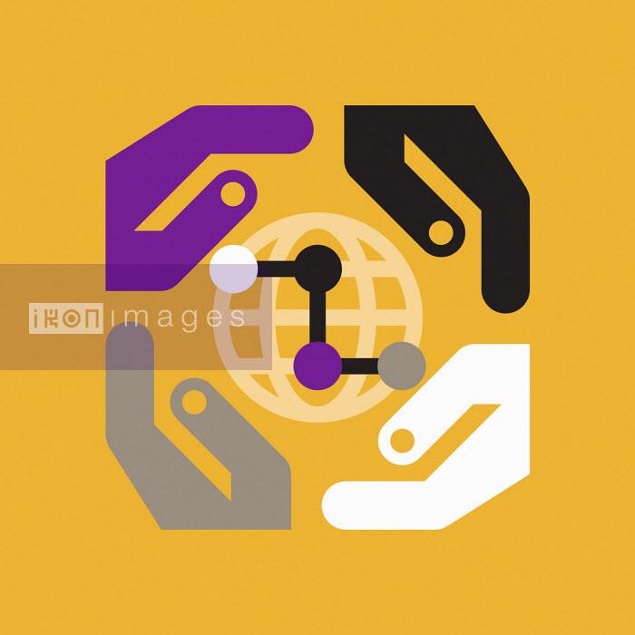 Graphic of hands surrounding globe - Grundini
