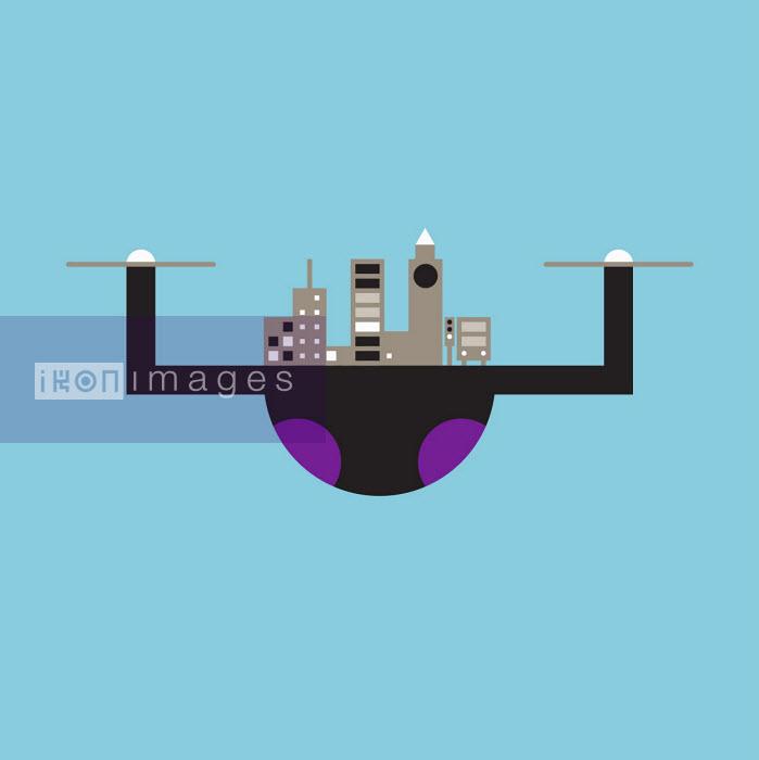 Cityscape on camera drone - Grundini
