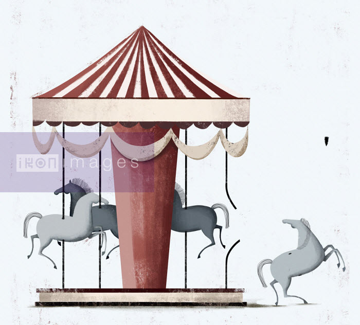 Horse escaping from carousel - Josep Serra