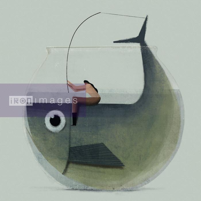 Woman fishing for huge fish in goldfish bowl - Josep Serra