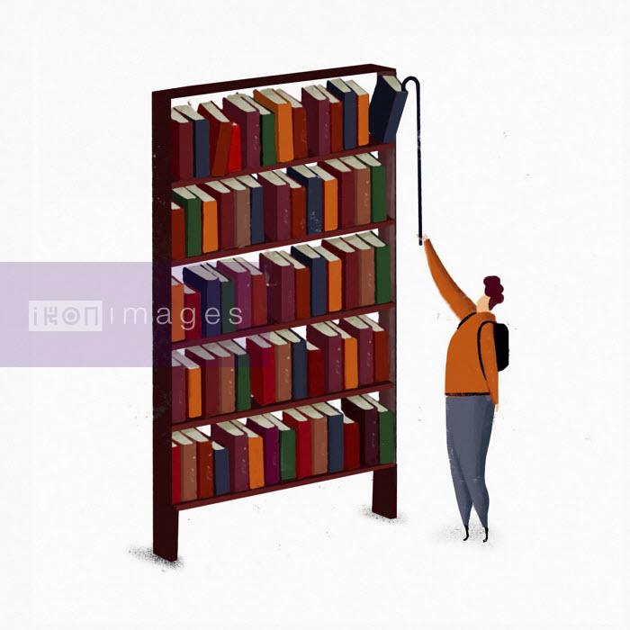 Man reaching to get book from top shelf - Josep Serra