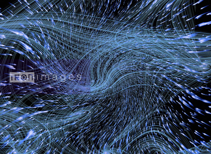 Gary Waters - Abstract background of swirling blue light trails
