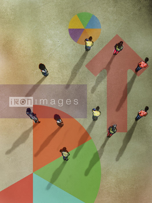 Overhead view of people standing on pie charts and arrow - Gary Waters
