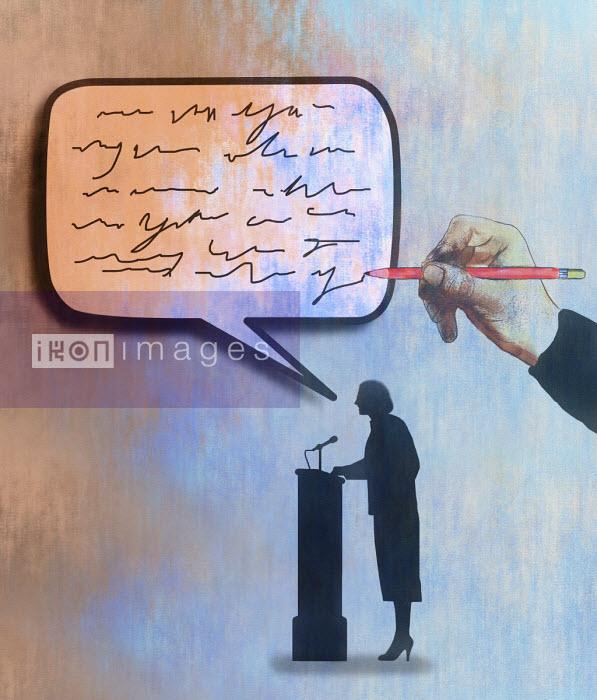 Gary Waters - Man writing text in woman's speech bubble