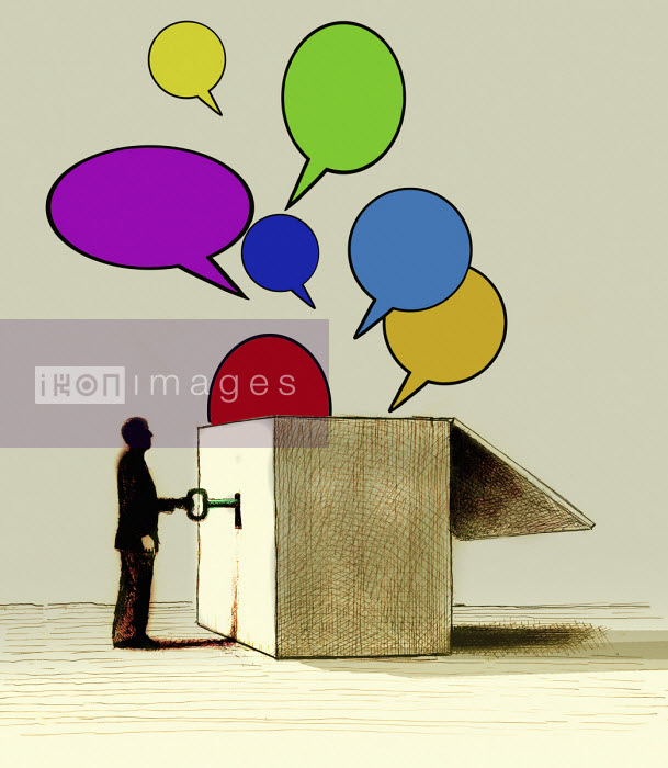Gary Waters - Businessman unlocking lots of speech bubbles from box
