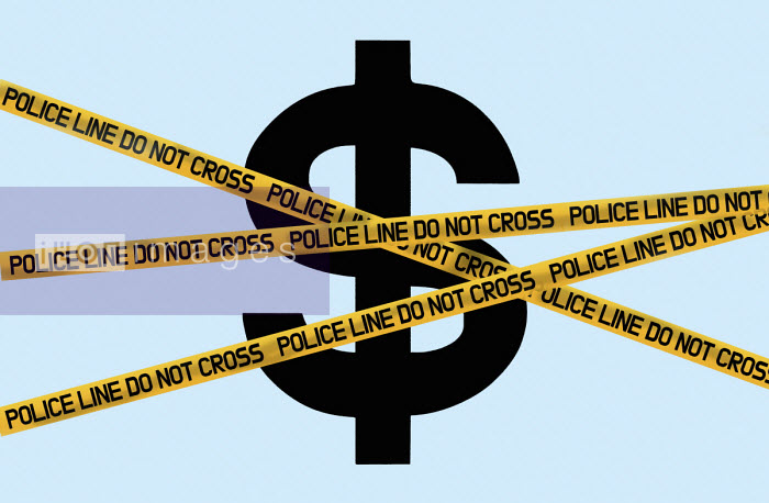 Dollar symbol behind police cordon tape - Gary Waters