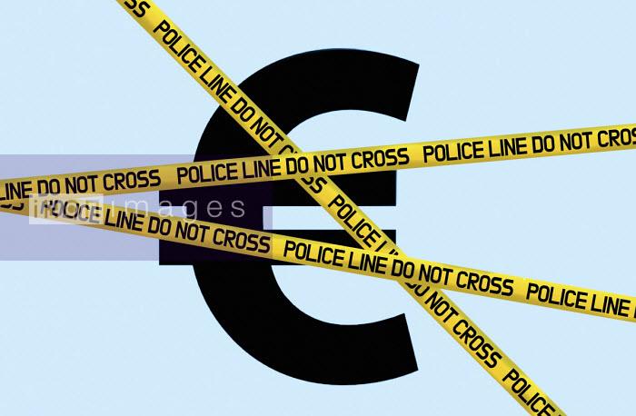 Euro symbol behind police cordon tape - Gary Waters