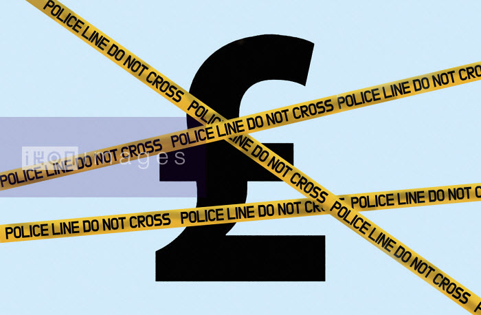 Pound symbol behind police cordon tape - Gary Waters