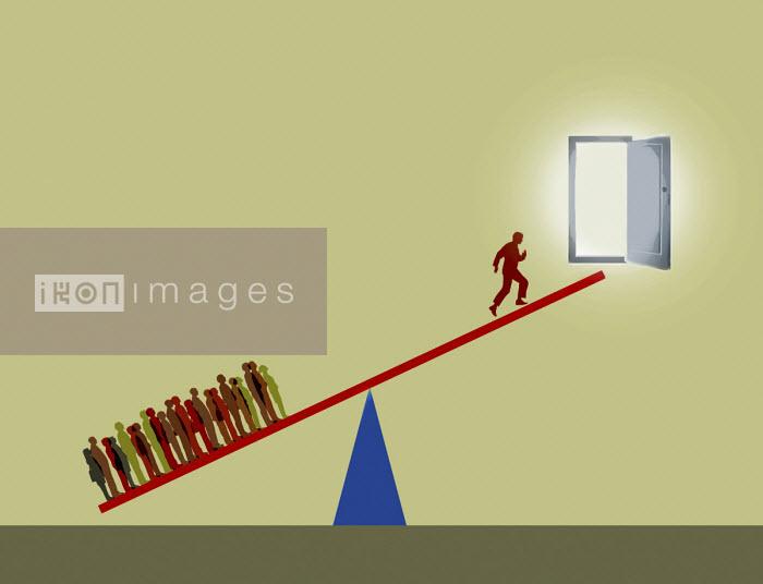 Man running up seesaw to open door - Gary Waters