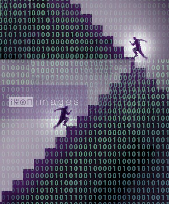 Men running up binary code staircase - Gary Waters