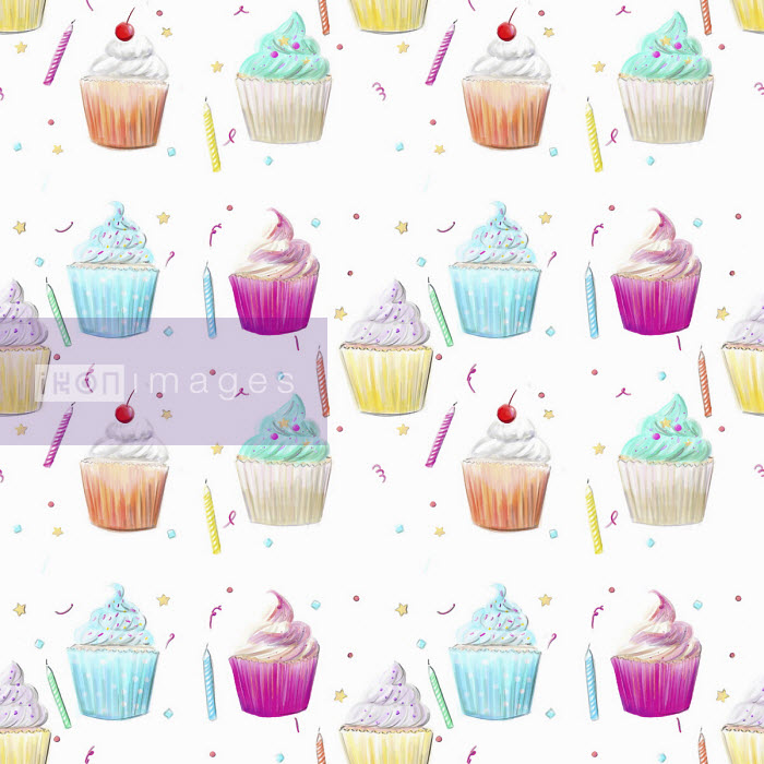 Cupcake and birthday candle pattern - Stephanie McKay