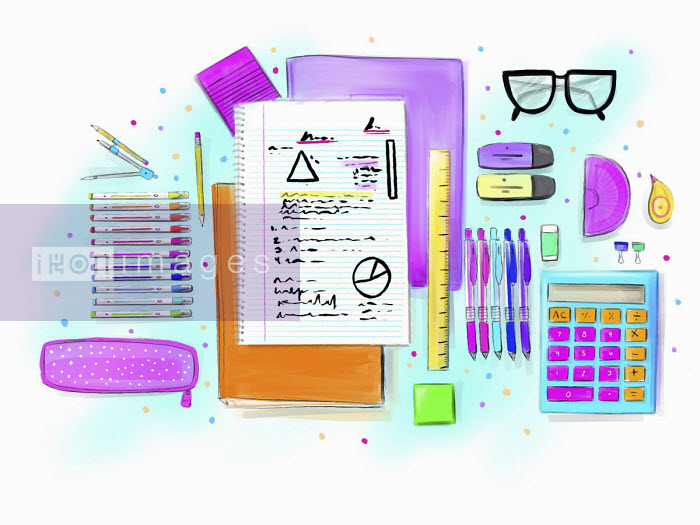 Schoolgirl's stationery supplies - Stephanie McKay