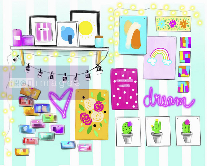 Teenage girl's bedroom wall - Stephanie McKay