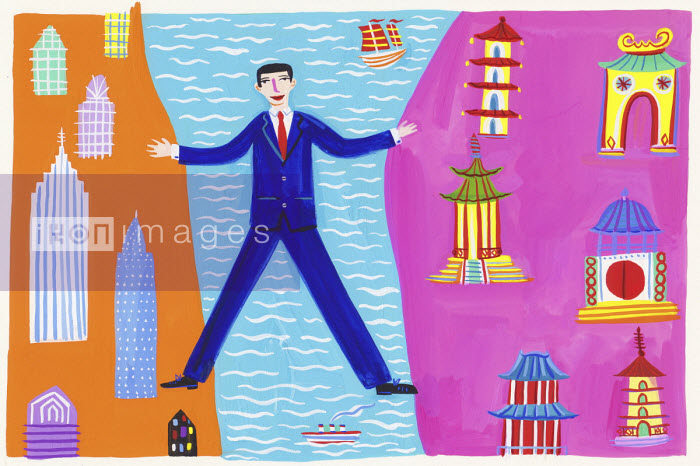 Businessman straddling the sea between East and West - Christopher Corr