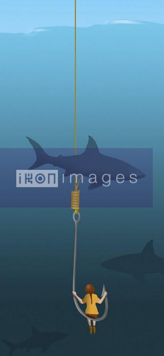 Sharks circling young girl on fish hook