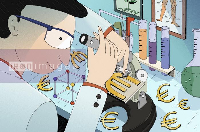 Scientist examining euro sign under microscope - Maxim Usik