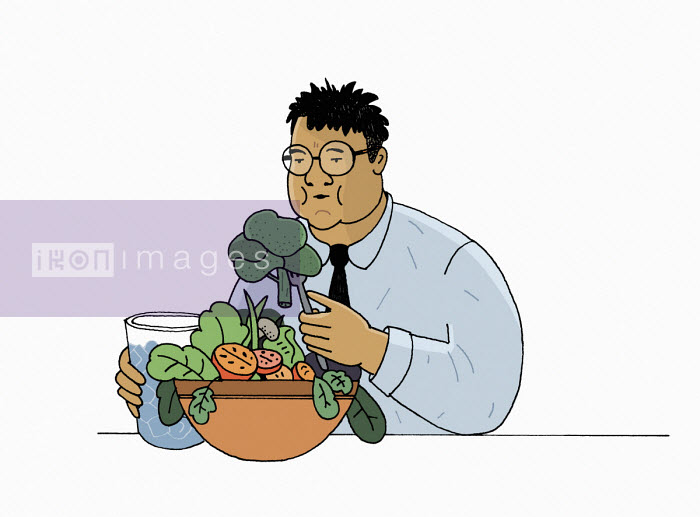 Overweight man eating large bowl of vegetables - Maxim Usik