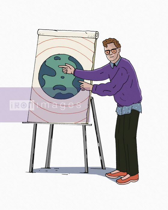 Man pointing to planet earth on flipchart - Maxim Usik