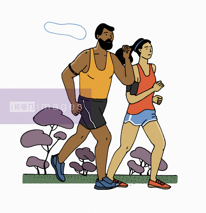 Maxim Usik - Man and woman jogging together with fitness trackers