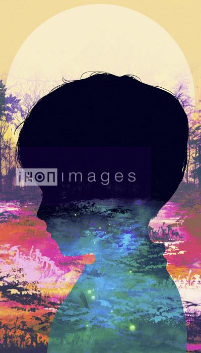 Carolina Rodriguez Fuenmayor - Profile of sad child superimposed over sunset