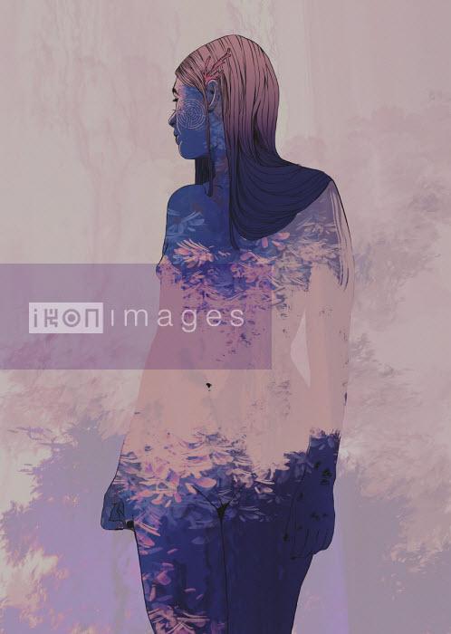 Carolina Rodriguez Fuenmayor - Flowers and nature superimposed over naked woman