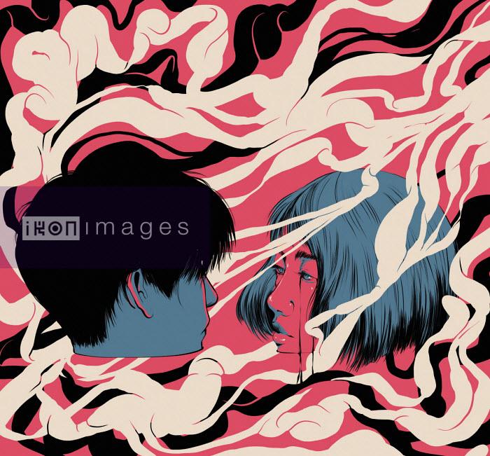 Teenage couple gazing into each other's eyes drowning in swirling pattern - Carolina Rodriguez Fuenmayor