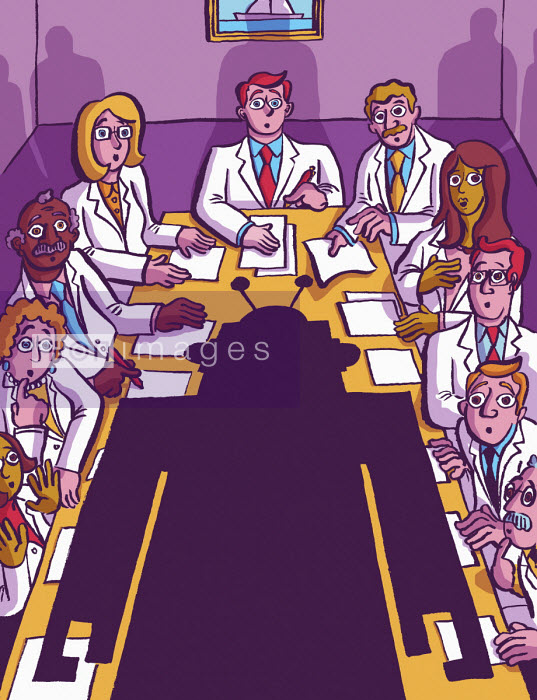 Dom McKenzie - Meeting of scientists shocked by robot at head of conference table