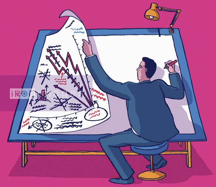 Businessman working at drawing board planning strategy - Dom McKenzie