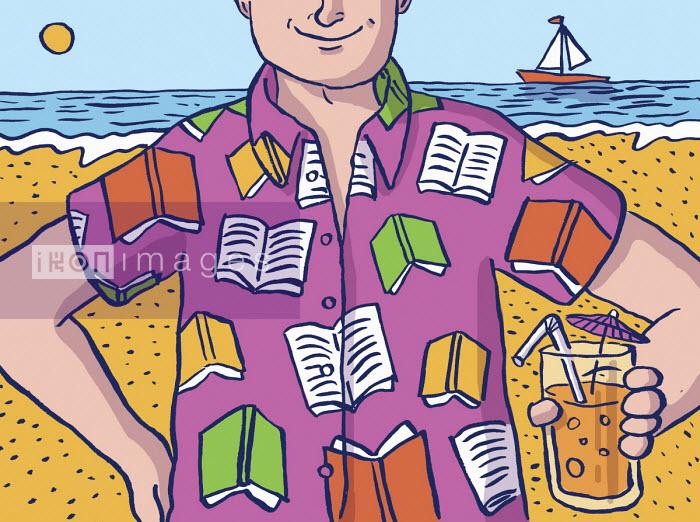 Cheerful man on summer beach wearing book pattern shirt - Dom McKenzie