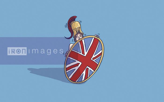 Frightened Britannia hiding behind her shield - Dom McKenzie