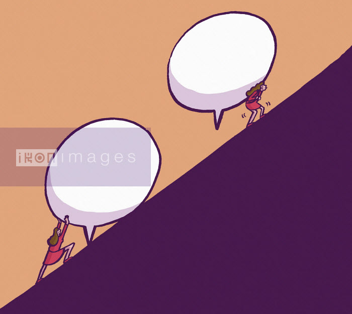 Women struggling to carry speech bubbles up steep slope - Dom McKenzie