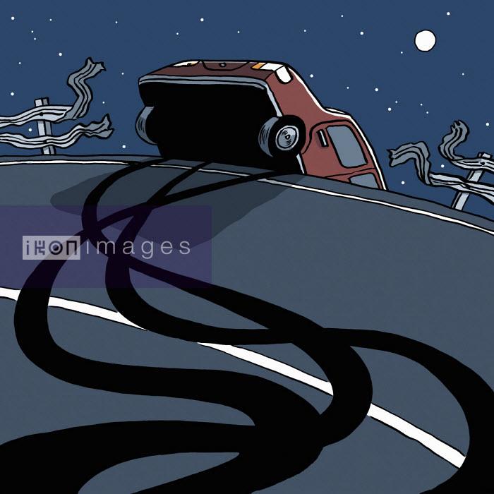 Car swerving off road through crash barrier - Dom McKenzie