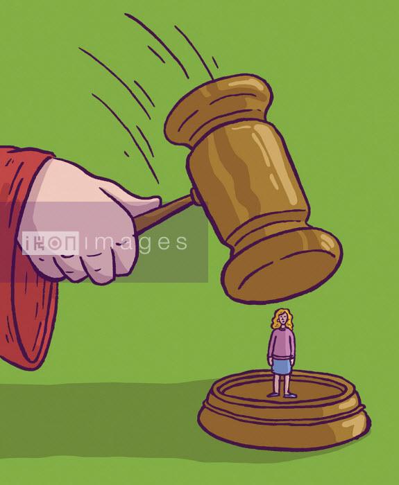Judge's gavel hitting woman - Dom McKenzie