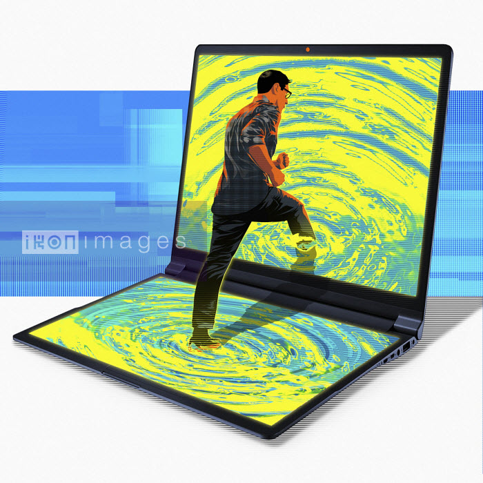 Man stepping into rippling computer screen - Taylor Callery